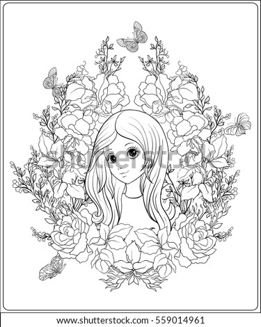young nice girl with long hear in the garden of roses outline drawing coloring page