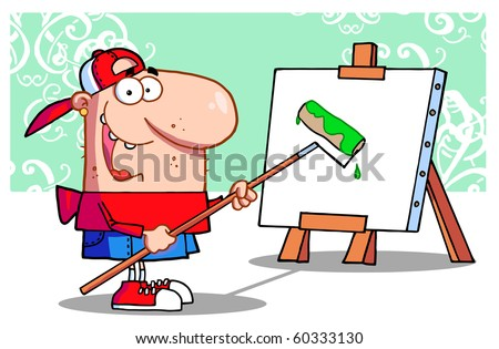 Young Painter Guy - stock vector