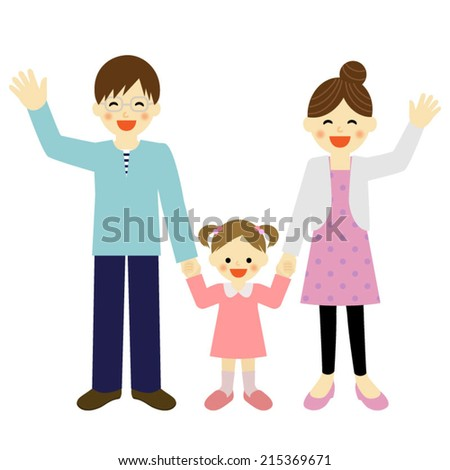 young parents with their little daughter hand in hand / Vector EPS 10 illustration
