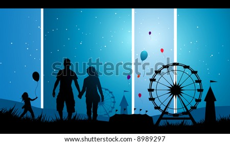 young people at a carnival. - stock vector