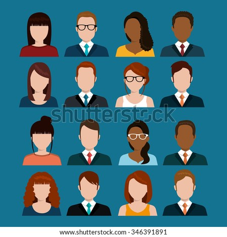 Young people avatar silhouette graphic design, vector illustration eps10 - stock vector