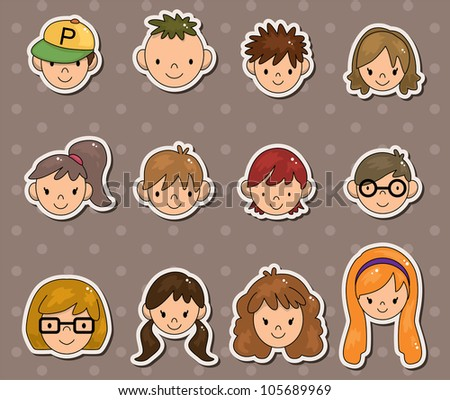 young people face stickers - stock vector
