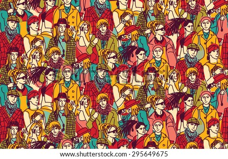 Young people fashion big group faces. Happy people in large group. Seamless pattern. Color vector illustration.