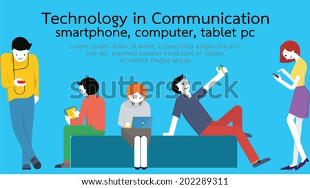 Young people, man and woman, using technology gadget, smartphone, mobile phone, tablet pc, laptop computer in communication concept. Flat design with copyspace.  - stock vector