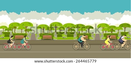 young people ride bikes around the city park with beautiful benches - stock vector