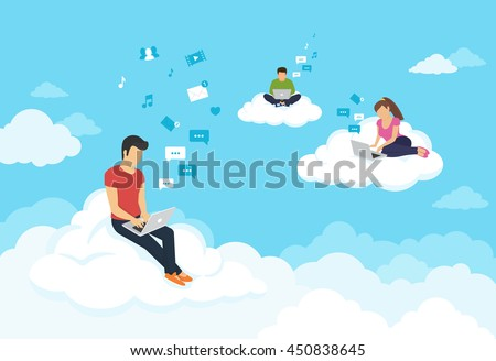 Young people sitting on the clouds in the sky using laptop and typing messages to friends. Flat modern illustration of working, social networking, elearning and texting using cloud storage - stock vector