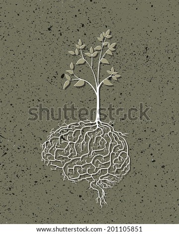 Young plant with brain root, vector - stock vector