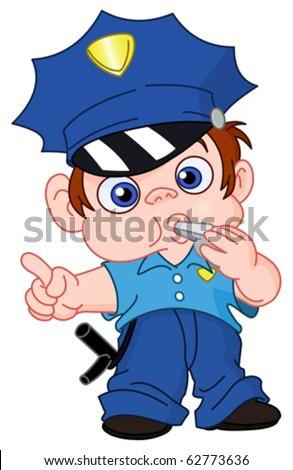 Young policeman - stock vector