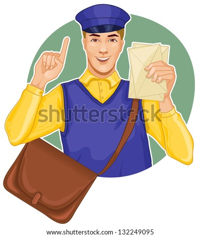 Young postman in a postman uniform with a letter and bag - stock vector