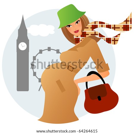 Young pregnant woman in London - stock vector