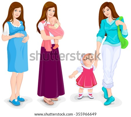 Young pregnant woman. Isolated illustration