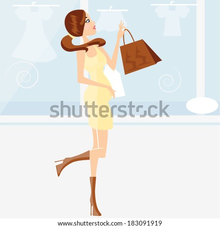 Young pregnant woman look at shop windows/ Pregnant woman - stock vector