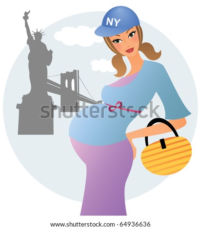 Young pregnant woman posing in front of the statue of liberty in new york - stock vector