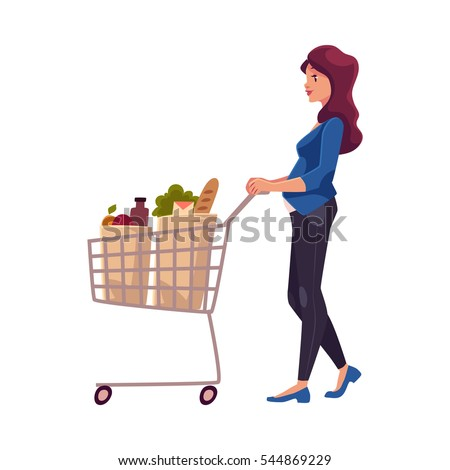 Young pregnant woman pushing shopping cart with grocery products, cartoon vector illustration isolated on white background. Beautiful pregnant woman buying food with shopping cart in grocery store
