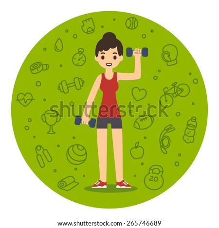 Young pretty cartoon style woman with dumbbells. Background is a pattern of sport and fitness related symbols. - stock vector