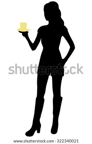 young pretty woman drinking coffee - stock vector