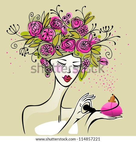 young pretty woman spraying floral scented perfume - stock vector