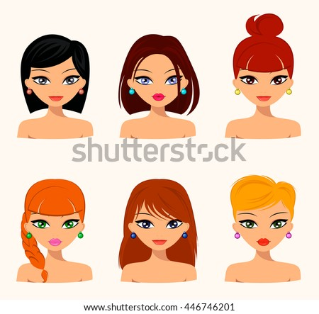 Young pretty women, pretty faces with different hairstyles, hair color. flat design, beauty and fashion. Vector editable - stock vector