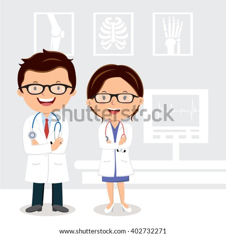 Young professional doctors. Vector illustration of doctors with medical background. - stock vector