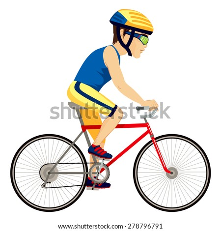 Young professional man cyclist cycling happy riding bike - stock vector