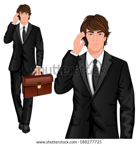 Young professional man dressed in one button suit talking mobile phone and business briefcase vector illustration - stock vector