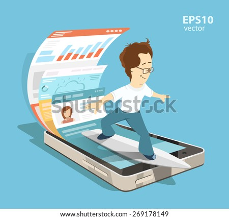 Young programmer software engineer. Mobile app application with ui and ux design development concept. Creative color illustration. - stock vector