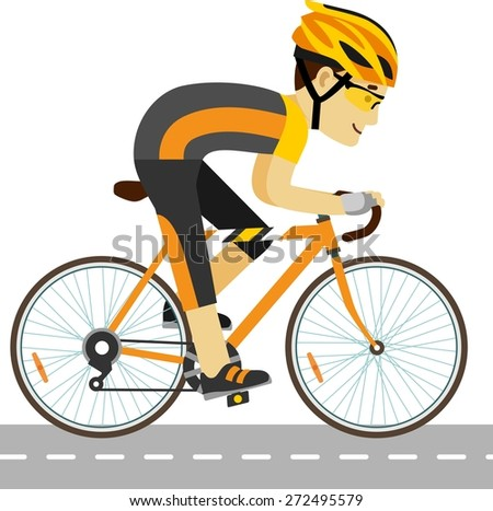 Young racing bicyclist man with bike isolated on white background in flat style - stock vector