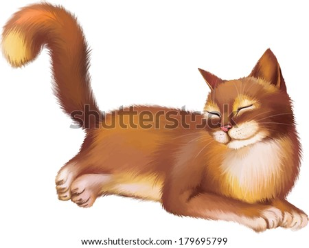 Young Red brown Cat laying, Rest. Isolated on white background - stock vector