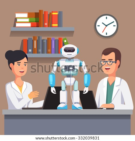 Young researchers man and woman in white smocks programming humanoid bipedal robot at their laptops. Artificial intelligence science. Flat style vector illustration isolated on grey background. - stock vector