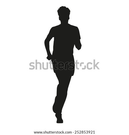 Young running man - stock vector
