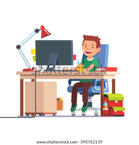 Young school kid boy studying sitting in front of the desktop computer at her home desk. Doing homework at daddy workplace. Flat style color modern vector illustration. - stock vector
