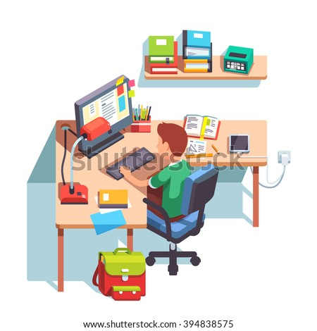 Young school kid boy studying sitting in front of the desktop computer at his home desk. Doing homework at home table. Flat style color modern vector illustration. - stock vector