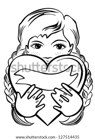 young school/preschool girl with long braided hair  holding a heart as a gift romantic Valentine's Day / Birthday type card monochrome black and white illustration on white background