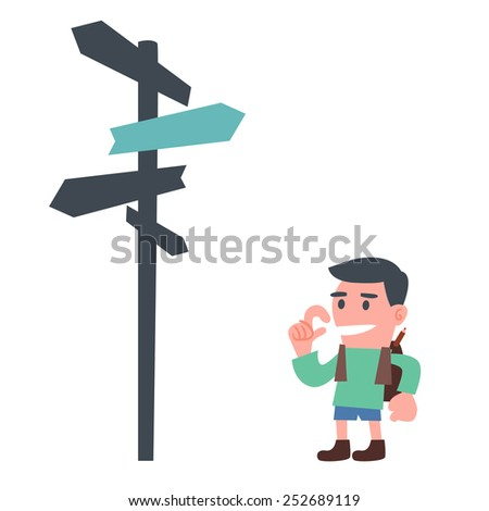 Young Schoolboy with Direction Sign - stock vector