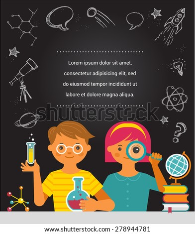 Young scientist. Research, Bio Technology, Chemical laboratory and education illustration - stock vector