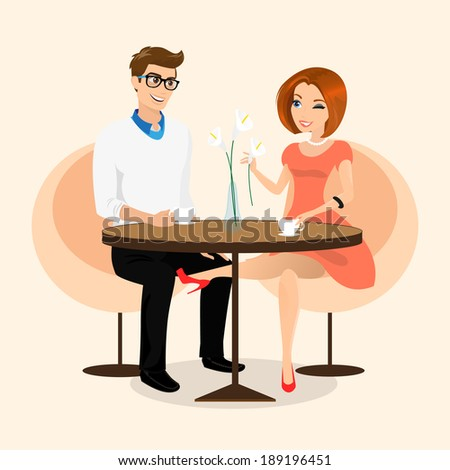 Young sensual pretty woman flirts with boyfriend in the cafe. - stock vector