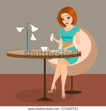 Young sensual pretty woman is crying in the cafe using a tablet pc. - stock vector