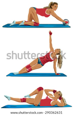 Young sexy sports woman three poses on white background. - stock vector