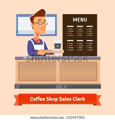 Young shop assistant serving a cup of coffee at the cashier desk. Flat illustration. EPS 10 vector. - stock vector