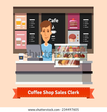 Young shop assistant serving a cup of coffee at the cashier desk. Flat style illustration. EPS 10 vector. - stock vector