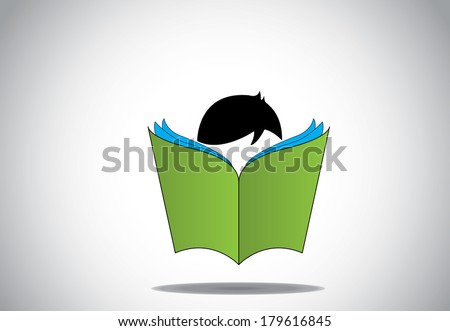 young smart boy kid reading 3d green open book education concept. black haired child with big book studying or learning for exams or for fun. learn or educate vector illustration art - stock vector