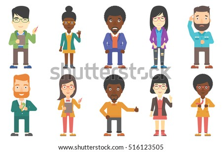 Young smiling manager holding a pencil and a clipboard. Manager taking notes on clipboard. Creative manager at work. Set of vector flat design illustrations isolated on white background.