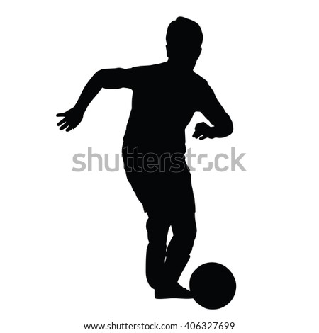 Young soccer player silhouette, kid plays soccer or football. Front view. Football player is taking off with the ball - stock vector
