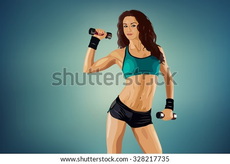 Young sports sexy fitness woman with dumbbells - stock vector