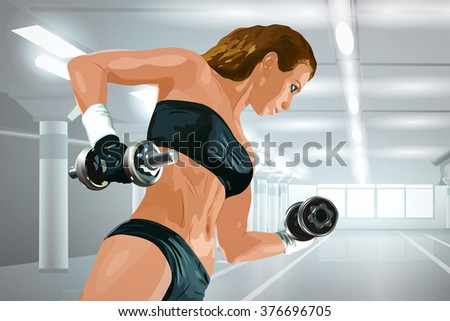Young strong woman weight training