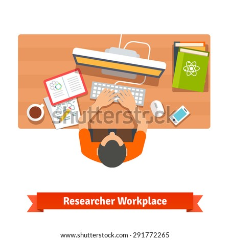 Young student or scientist researching and studying at his home workplace desk. Flat vector illustration isolated on white. - stock vector