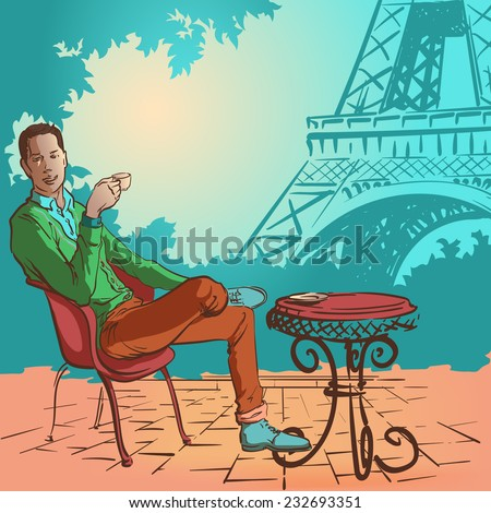 Young stylish man sitting in the street cafe in Paris and enjoying his morning coffee. EPS10 vector illustration. - stock vector