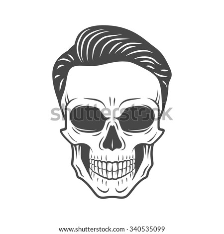 Young stylish skull with hipster hair. Glamour rock skeleton logo template.  - stock vector