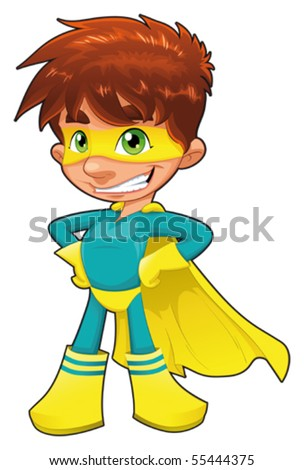 Young superhero. Funny cartoon and vector character. Isolated object - stock vector