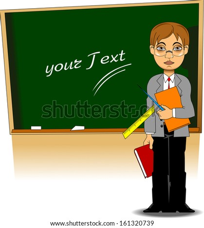 young teacher with books and a pointer, vector and illustration